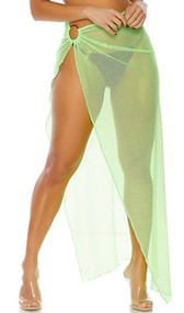 Sardinia pool skirt features a sheer net full length fabric gathered at hip with large O ring detail and high slit. Skirt does not open, it is a pullover closure.