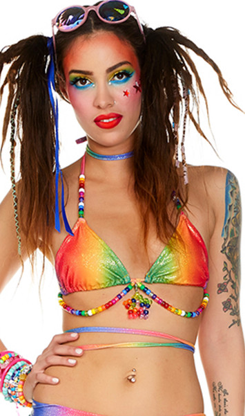 Rainbow halter top features adjustable triangle cups with lined shimmer glittery fabric, pony bead detail, tie neck, back and waist wrap tie closures.