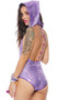 Hologram galaxy inspired sleeveless romper with shimmery iridescent dot fabric, detachable back beaded detail, and versatile hood to cowl neck option. Pattern of the fabric changes with the way the light hits it.