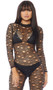 Sheer fishnet long sleeve catsuit with distressed holes, mock neck and back zipper closure.
