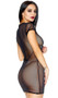 Sheer mesh mini dress with short sleeves, crew neck and back zipper closure.