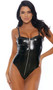 Sleeveless vinyl teddy with non-adjustable shoulder straps, zipper front closure, high cut on the leg and cheeky cut back.