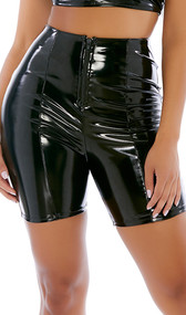 Shiny stretch vinyl biker style shorts feature a high waist and zipper front closure.