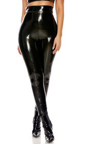 Shiny stretch vinyl pants feature a high waist and zipper back closure.