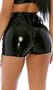 Sleek stretch vinyl shorts feature a high waist, lace up front detail with shiny grommets, and back zipper closure.