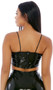 Sleeveless vinyl cami style crop top features spaghetti straps and back zipper closure.