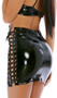Glossy vinyl mini skirt with lace up detail on both sides and shiny grommet accents.