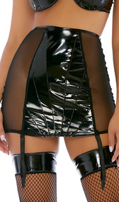 Glossy vinyl and sheer mesh mini skirt with high waist and adjustable garter straps.