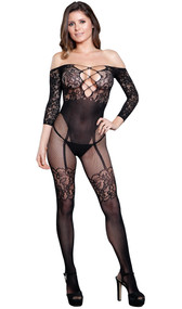 Lace off the shoulder bodystocking with three quarter sleeves, strappy criss cross detail over a plunging neckline, open crotch, and faux garter teddy with thigh highs design.
