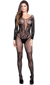 Fishnet and lace bodystocking with long sleeves, scoop neck and back, open crotch, and faux teddy with thigh highs design.