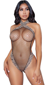 Sheer fishnet sleeveless teddy with leopard print trim, halter style high collar neckline, high cut on the leg, and thong cut back.