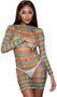 Rainbow striped stretch mini dress with sheer cut out details, long sleeves and crew neck.