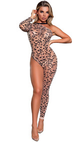 Asymmetrical leopard print bodystocking with one shoulder long sleeve, one footless leg, and elastic halter strap that goes over the head (does not tie). Closed crotch.