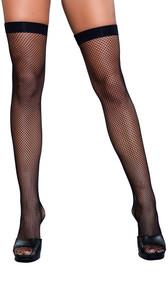 Fishnet thigh high stockings.