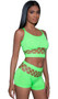 Sleeveless cami crop top with double criss cross shoulder straps and cut out netting detail. Matching mid-rise booty shorts also included. Two piece set.