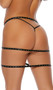 Studded strap mini skirt with criss cross front and triple strap back with clasp closures.