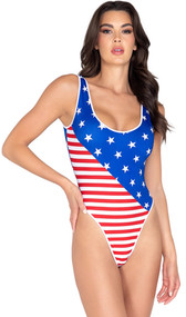 Sleeveless American flag print romper with tank style top and high cut cheeky bottom.