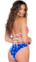 American flag print low rise shorts with V shaped front and cheeky cut back.