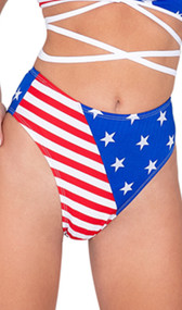 American flag print shorts with high waist and cheeky cut back.