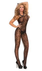Rose lace bodystocking with spaghetti straps and open crotch.