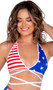 Sleeveless American flag print crop top with triangle shaped cups, halter neck and criss-cross waist straps with tie closure.