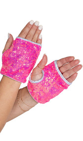 Sequin fingerless wrist length gloves with open slot for fingers, separate thumb hole, and metallic trim.