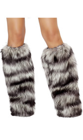Faux fur fuzzy striped legwarmers with elastic top. Wide flared bottom opening designed to fit over your own shoes or boots. Pair.