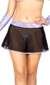 Sheer mesh mini skirt with shimmer iridescent waist band and trim. Pull on style.