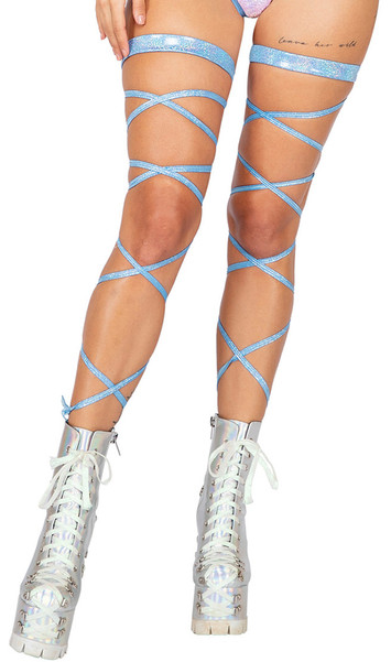 Shimmer leg strap with attached garter.