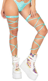 """Shimmer leg wraps with iridescent dots and attached garter. 100"""" long. 2 per package."""