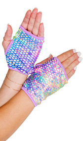 Iridescent fingerless wrist length gloves with open slot for fingers and separate thumb hole. The silver pattern colors change depending on how the light hits it.