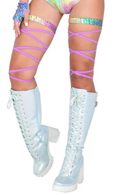 """Leg wraps with iridescent silver pattern attached garter. 100"""" long. 2 per package. Slide them on, wrap around your leg as you please, and tie."""
