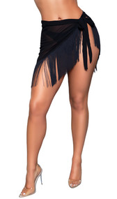 Vania pool cover up asymmetrical skirt features semi-sheer fabric with fringe trim and waist tie closure.