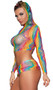 Rainbow netted cami crop top with long sleeves and hood. Matching pull on micro mini skirt also included. Two piece set.