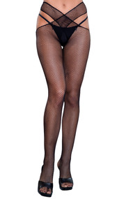 Crotchless micro net wrap around pantyhose. Please note this item comes in two pieces, one for each leg, and they criss cross at the waist area.