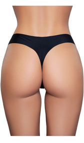 Thong panty with smooth, stretch fabric, seamless edges and cotton lined crotch.