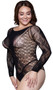 Long sleeve sheer net teddy with hearts and flowers and design.