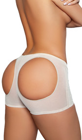 Mesh butt booster boyshort with elastic waist and rear round openings for a natural lift. Front half has a soft inner lining.