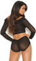 Off the shoulder sheer mesh crop top with long sleeves, collar and faux button detail. Pull on style, top does not open. Matching high waisted panty with ruched back, faux button detail and lined crotch also included. Two piece set.