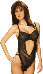 Ruffled mesh striped teddy with open V front, underwire cups, adjustable straps, adjustable back closure and g-string back.