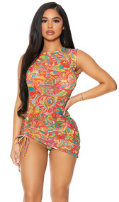 Sleeveless mesh cover up mini dress with colorful print, high neckline, and adjustable drawstring thigh detail. Pullover style.