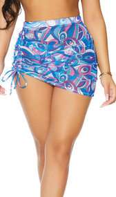 Mesh cover up mini skirt with colorful print, high waist, and adjustable drawstring thigh detail. Pull on style.