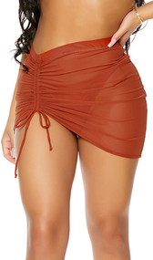 Mesh cover up mini skirt with high waist and adjustable drawstring thigh detail. Pull on style.