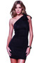 Convertible mini dress with versatile straps. Can be worn three ways: with sleeves, without sleeves, and as a one-shoulder.