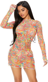 Long sleeve sheer mesh cover up mini dress with colorful print, high neckline, and pullover closure.