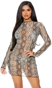 Long sleeve sheer mesh cover up mini dress with reptile snake print, high neckline, and pullover closure.