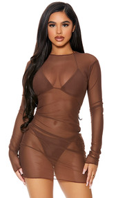 Long sleeve sheer mesh cover up mini dress with high neckline and pullover closure.