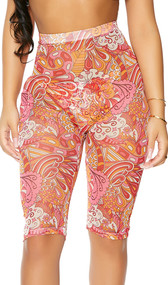 Sheer mesh cover up biker style shorts with colorful print, high waist and pullover closure.