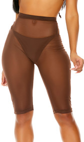 Sheer mesh cover up biker style shorts with high waist and pullover closure.