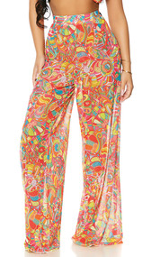 Sheer mesh cover up palazzo pants with colorful print, high waist, flowing wide flared legs, and wide elastic waistband.